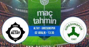 Altay - Giresunspor İddaa Analizi ve Tahmini 02 Aralık 2020