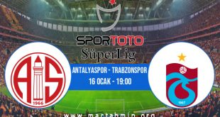 Antalyaspor - Trabzonspor İddaa Analizi ve Tahmini 16 Ocak 2021
