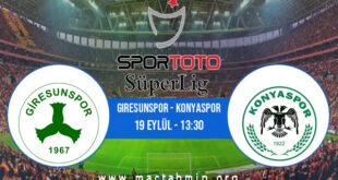 Giresunspor - Konyaspor İddaa Analizi ve Tahmini 19 Eylül 2021